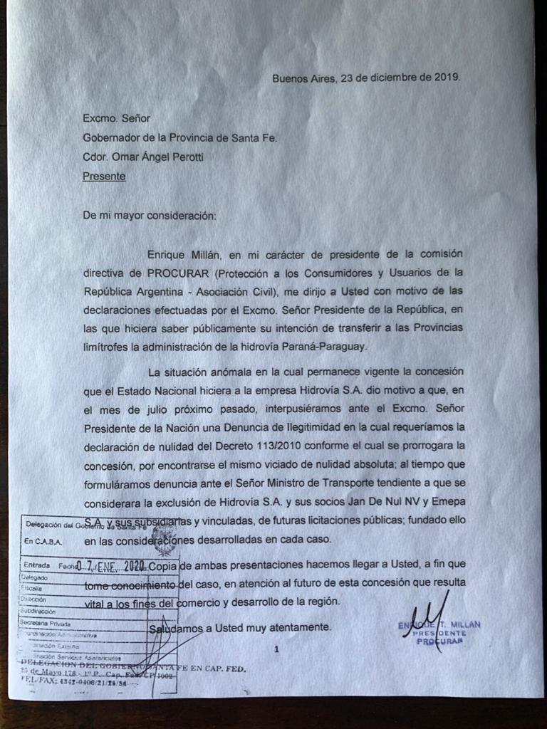Piden a Bordet y Perotti, que tomen nota de irregularidades en la concesión de la Hidrovía