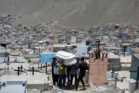 Miembros de la familia llevan el ataúd de un hombre que murió de la enfermedad del coronavirus en un cementerio, en Lima, Perú, el 27 de enero de 2021.