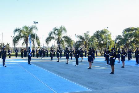 """La ministra Romero presidió la jura de fidelidad a la Bandera que realizaron los cadetes de tercer año de la Escuela Superior de Oficiales de Policía """"Dr. Salvador Maciá""""."""