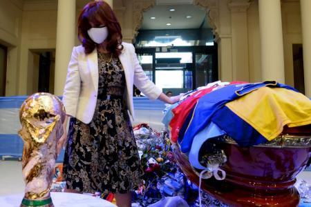 Cristina Kirchner despidió en Casa Rosada a Diego Maradona