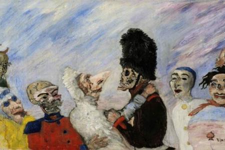"""Esta obra se titula """"Esqueleto deteniendo máscaras"""" y pertenece al pintor belga James Ensor."""