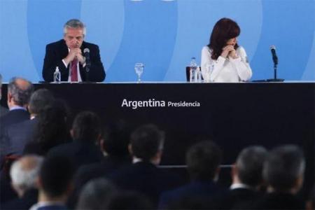 Alberto Fernández y Cristina Kirchner, en un acto en Casa Rosada.