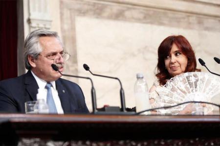 Alberto Fernández y Cristina Kirchner durante la apertura de sesiones ordinarias.