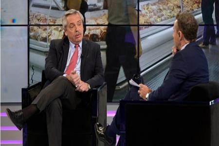 Alberto Fernández con Luis Majul