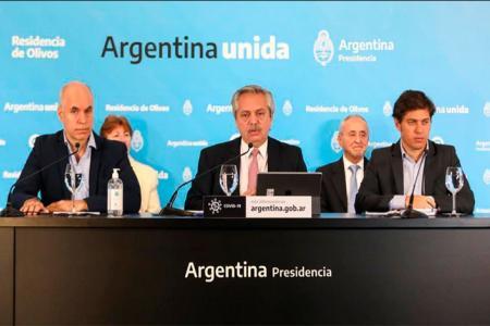 Alberto Fernández con Axel Kicillof y Horacio Rodríguez Larreta