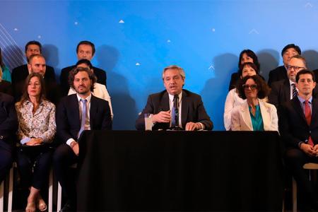 Alberto Fernández al anunciar su Gabinete.