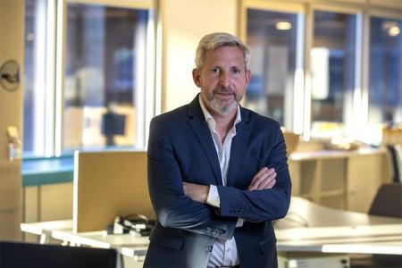 El exministro del Interior Rogelio Frigerio, entrevistado en la redacción del diario La Nación tras su victoria electoral en Entre Ríos.