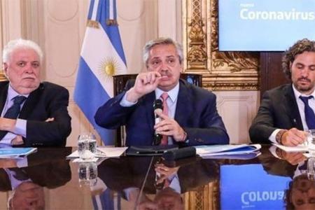 Alberto Fernández junto al ministro Ginés González García y al jefe de Gabinete Santiago Cafiero.