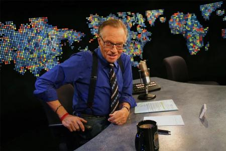 Larry King en el estudio de CNN, en Los Ángeles, 2007.