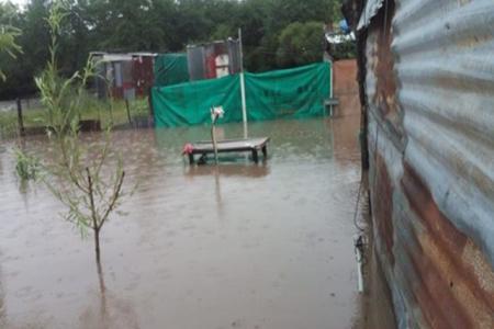 casas anegadas por lluvia en Villaguay