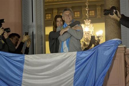 Macri en el balcón de la Casa Rosada durante el 24 de agosto.