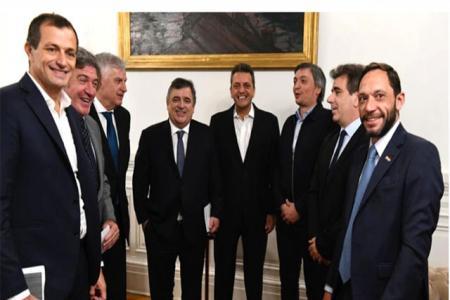 Sergio Massa y Máximo Kirchner, junto a los jefes de bloque de Diputados (Prensa Diputados)