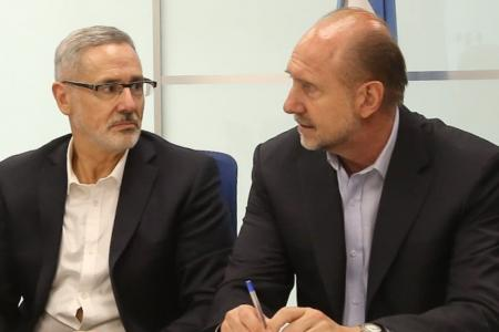 Omar Perotti junto a Marcelo Saín