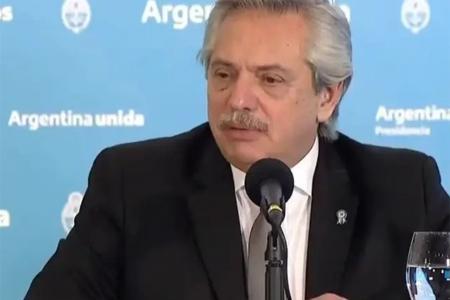 Alberto Fernández, durante la conferencia de anoche.