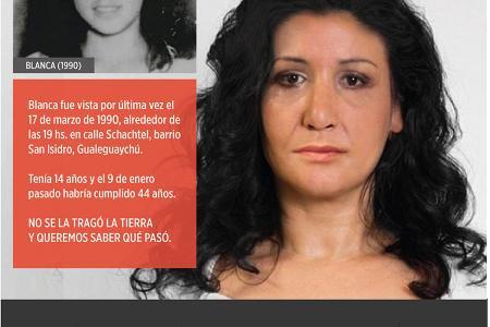 Blanca habría cumplido 44 años el 9 de enero pasado. Quien cuente con información se ruega comunicarse al 911 o al Juzgado de Garantías Nº 2 a cargo del juez Ignacio Boris Telenta (3446) 426140.