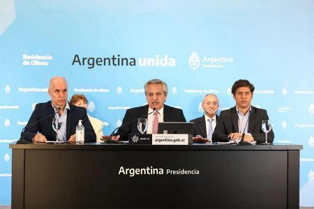 Horacio Rodríguez Larreta, Alberto Fernándz y Axel Kicillof.