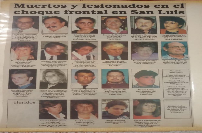 Víctimas del accidente en San Luis