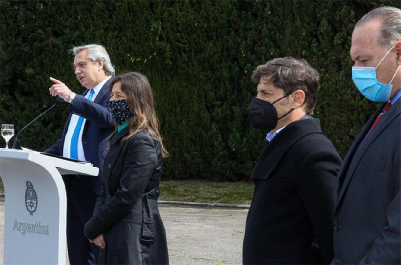 Alberto Fernández, Sabina Frederic, Axel Kicillof y Sergio Berni.