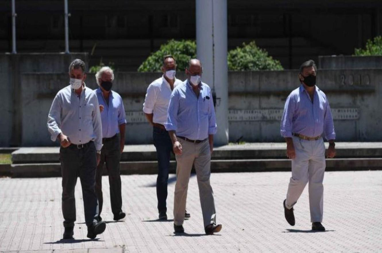 Achetoni, Chemes y Pelegrina, los tres dirigentes que participaron en la conferencia de prensa en la SRA, en Palermo