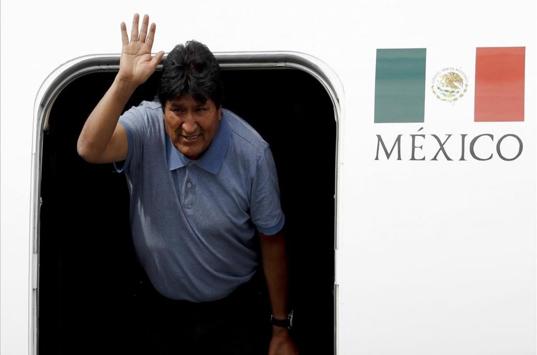 Evo Morales llegando a México