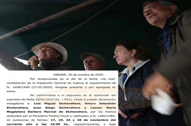 Citaron a indagatoria a los hermanos Etchevehere y Leonor Barbero en una causa por estafa