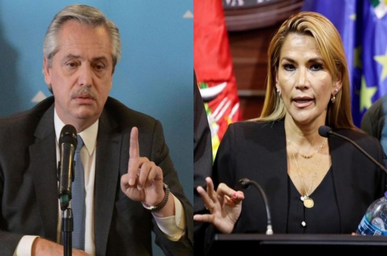 Alberto Fernández y Jeanine Áñez