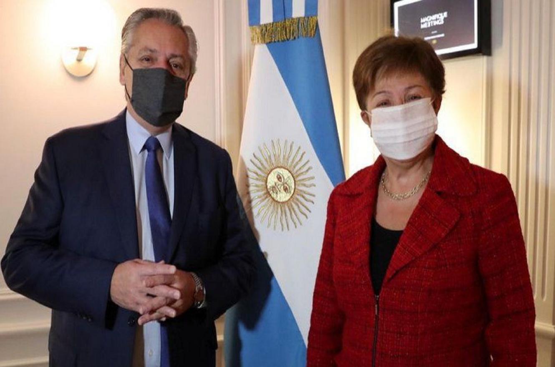 Alberto Fernández con la directora del FMI Kristalina Georgieva