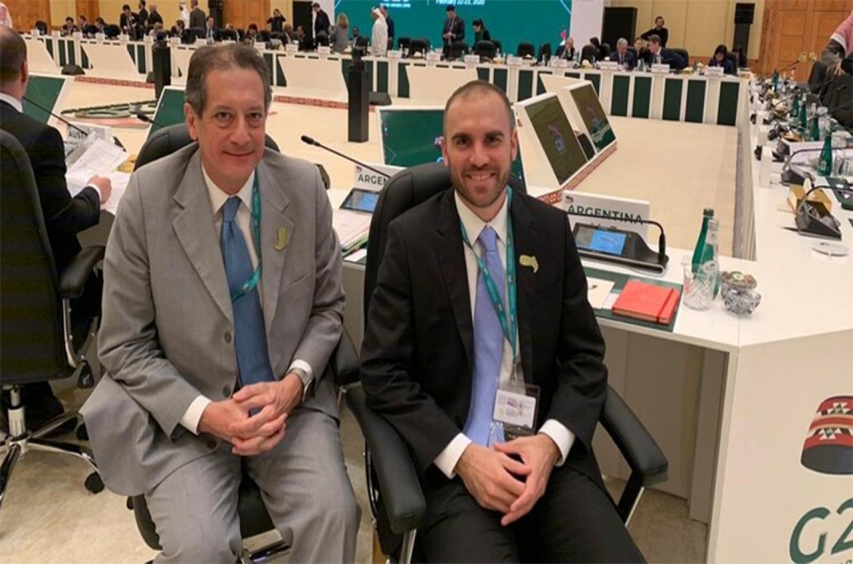 Miguel Pesce, presidente del Banco Central, y Martín Guzmán, ministro de Economía, durante el G20 de Finanzas de Arabia Saudita.