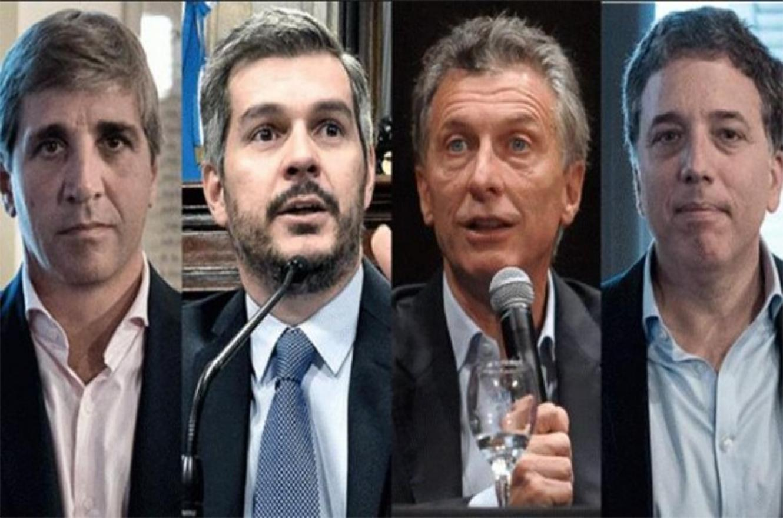 Luis Caputo (ex presidente del BCRA), Marcos Peña (exjefe de Gabinete), Mauricio Macri (expresidente) y Nicolás Dujovne (exministro de Hacienda),