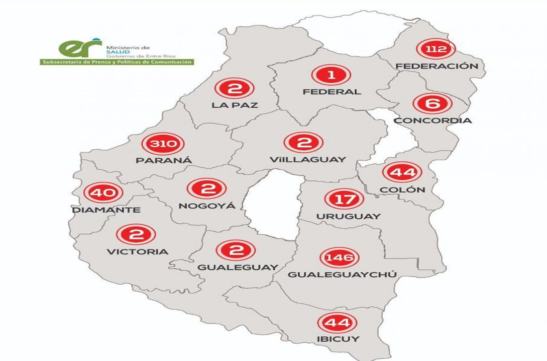 El mapa actualizado de casos de coronavirus confirmados discriminado por Departamento.