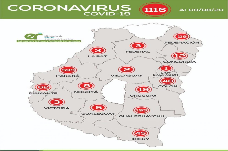 Los Departamentos Feliciano y Tala son los únicos distritos que por el momento no registran casos de coronavirus.