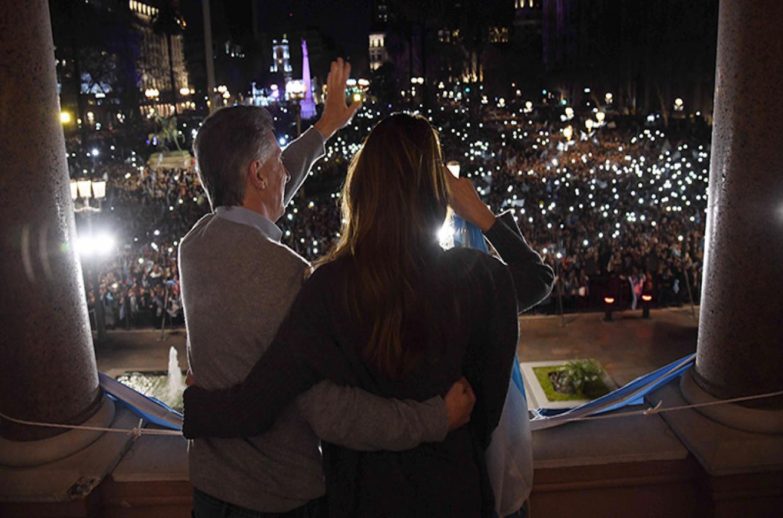 Macri desde el Balcón en Casa Rosada