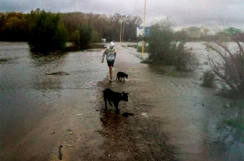 Parque Unzué inundado