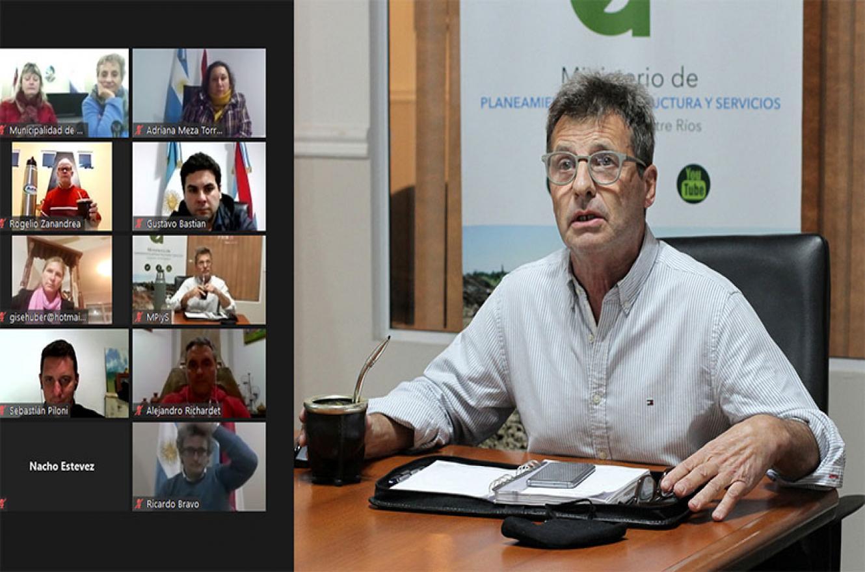 El ministro de Planeamiento, Marcelo Richard, encabezó una reunión virtual junto a funcionarios de Cafesg e intendentes de la región de Salto Grande.