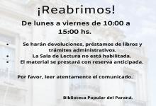 La Biblioteca Popular del Paraná abrió sus puertas