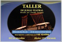 Taller de juego teatral en La Hendija