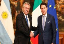 Alberto Fernández con el presidente del Consejo de Ministros de Italia, Giuseppe Conte