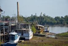 El río mostró vestigios del antiguo Puerto Nuevo, un punto de transporte de mercaderías y pasajeros inaugurado en 1907.