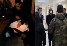 Imagen de Twiitter: Momento en el que un funcionario de la embajada de Argentina sufre un ataque de asma y el instante cuando diplomáticos argentinos cuestionan a policías por la retención del diputado.