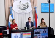 El gobernador Gustavo Bordet encabezó la conferencia de prensa virtual de hoy, acompañado por la vicegobernadora, Laura Stratta y la ministra de Salud, Sonia Velázquez.