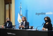 Santiago Cafiero junto a Carla Vizzotti y Matías Lammens