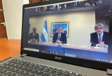 Felipe Solá, Alberto Fernández y Daniel Filmus, durante el encuentro del Consejo Nacional de Asuntos Relativos a las Islas Malvinas, Georgias del Sur, Sándwich del Sur y los Espacios Marítimos e Insulares.