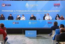 El Presidente Alberto Fernández participó en la exEsma de un homenaje a los trabajadores desaparecidos, a 45 años del golpe de Estado cívico militar.