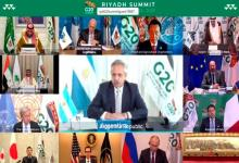 Fernández durante la Cumbre del G20 virtual