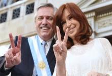 Alberto Fernández y Cristina Fernández durante el acto de asunción del Gobierno Nacional.