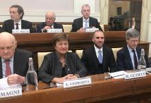 Kristalina Georgieva, directora gerente del FMI, y Martín Guzmán, ministro de Economía, coincidieron en el Seminario en el Vaticano.