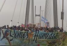 Miles de personas atravesaron el puente Rosario-Victoria para reclamar el fin de la quema en el Delta del Paraná. Hasta la fecha cerca de 90 mil hectáreas han sido quemadas.