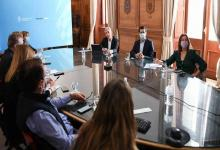 Los ministros de Transporte, Mario Meoni; de Interior, Eduardo de Pedro, y de Seguridad, Sabina Frederic