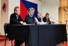 Los dirigentes de la Mesa de Enlace durante una conferencia de prensa en la Rural de Río Cuarto.