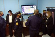 La ministra de Gobierno y Justicia, Rosario Romero y el Jefe de Policía, comisario general Gustavo Maslein recorrieron los centros de monitoreo de Colón y Pueblo Liebig.